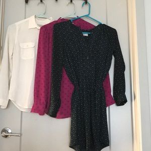 Bundle of EUC Loft tops plus shirt dress